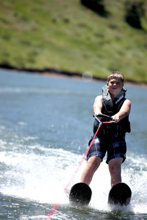 Zach skiing for first time