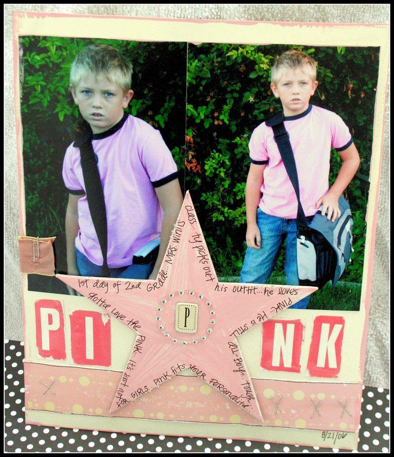 PINK boy layout by Teresa Collins