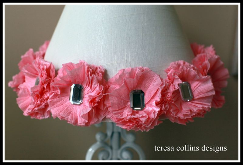 Crepe paper flower blingage lamp 2