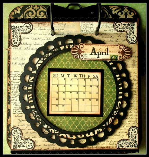 Teresa Collins - world traveler - Cheri - Calendar - April w frame