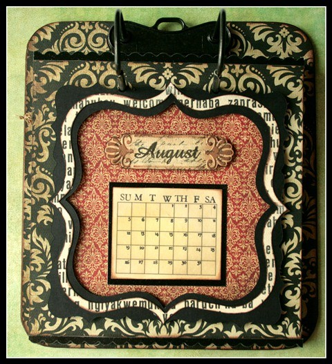 Teresa Collins - world traveler - Cheri - Calendar - August w frame