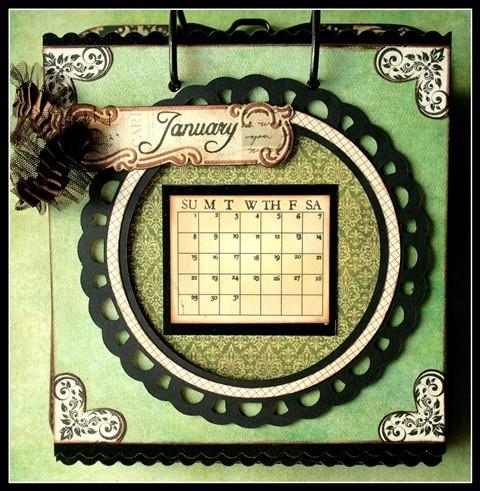 Teresa Collins - world traveler - Cheri - Calendar - January w frame