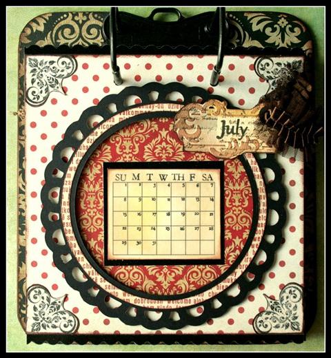 Teresa Collins - world traveler - Cheri - Calendar - July w frame