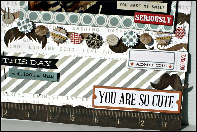 HE SAID- YOU ARE SO CUTE layout with garland upcloseE layout close up view